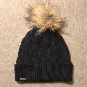 Pom-Pom Black Knit Winter Hat